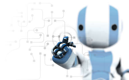 dof: A blue and white robot pointing his finger against a transparent window of circuitry and programming. Slight DOF