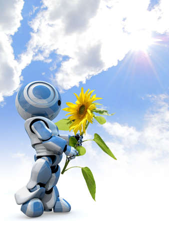 organic background: A glossy reflective 3d robot looking in awe at a large sunflower while standing in front of a cloudy sky. Stock Photo