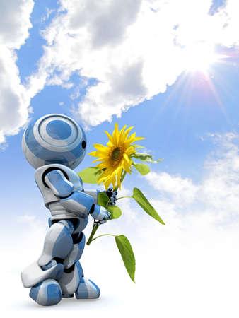 girasol: Un brillante 3d reflexivas robot buscando en temor a un gran girasol, mientras que de pie delante de un cielo nublado.  Foto de archivo