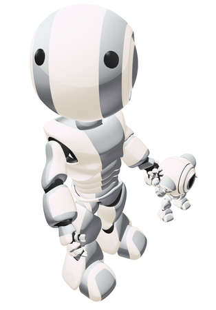 cybernetics: A big and small robot holding hands. The large robot is looking up past the viewer.  Stock Photo