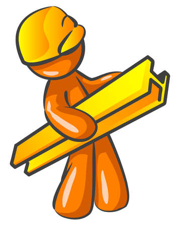 An orange man contractor construction worker holding a beam and working hard, walking.