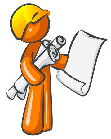An orange man contractor construction worker holding plans and ready to direct a large project.  Illustration