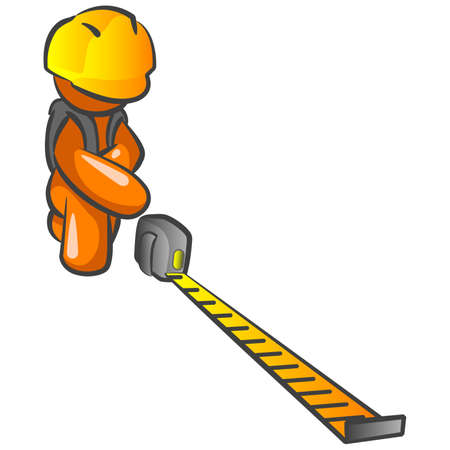 An orange man construction worker holding out a tape measure and measuring something on your design.  Vector