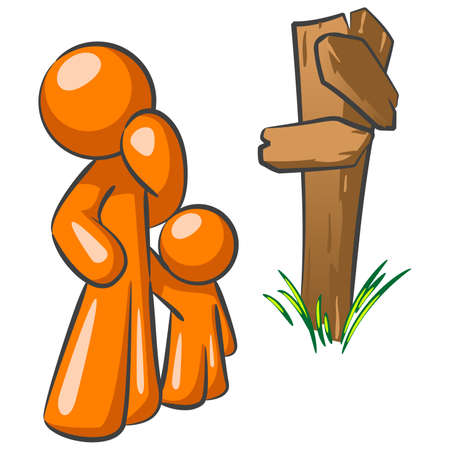 sign post: An orange man parent and his child at a crossroads. A good concept in making choices as a parent.