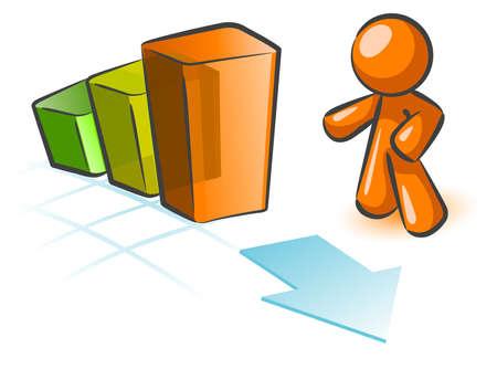 staaf diagram: Een oranje man gebaren om een staafdiagram met een pijl door het. Cute concept in stijgende omzet.
