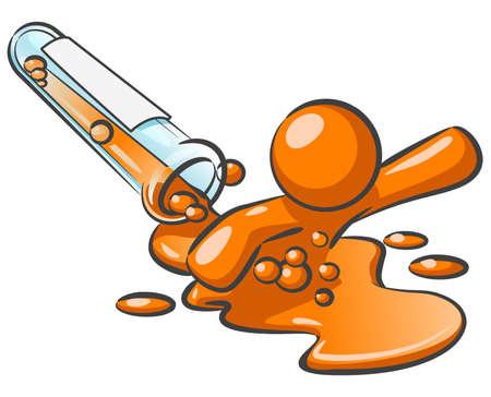 sustancias toxicas: Un hombre de color naranja que salen de un derrame l�quido de color naranja de un tubo de ensayo. Ahora usted sabe c�mo son los hombres de naranja hecho.