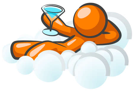 An orange man sitting in the clouds, holding a drink, happy.