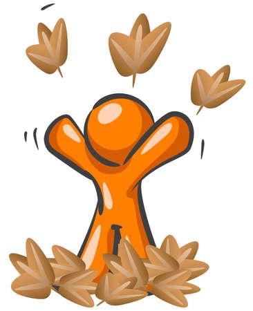 them: Un uomo di colore arancione giocando felicemente nelle foglie, gettando in aria.