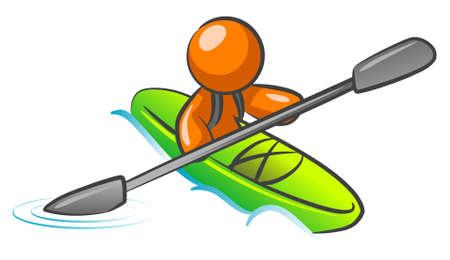 paddle: An orange man kayaking in the water.