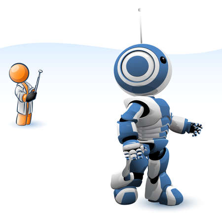 technology: An orange man controlling a robot from a distance. Good concept in robotics, and technology.