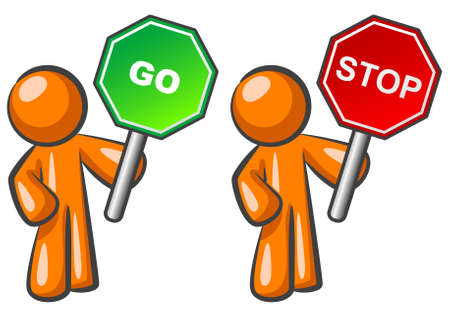 Two orange men holding Stop and Go signs.  Vector