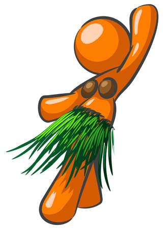 hula: Una mujer que hace el naranja y el baile de hula. Vectores