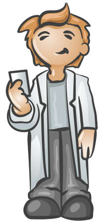 caucasian: A scientist holding up a business card smiling happily.