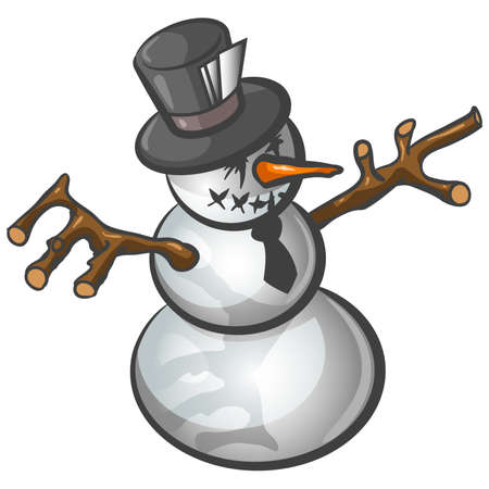 unorthodox: A snowman built in a somewhat grungy and unorthodox sort of style.