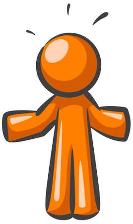 """Un uomo d'arancia alzando, come a dire """"non so"""" Archivio Fotografico - 3881008"""