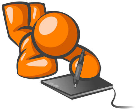 using tablet: An orange man working on an illustration using a graphic tablet.