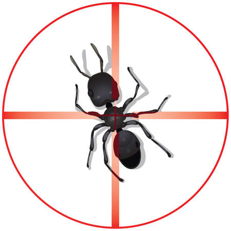 exterminate: A red circle with vertical and horizontal bar illustrating a high-powered optical scope centered or focusing direct targeted view of a large insect ant. Illustration