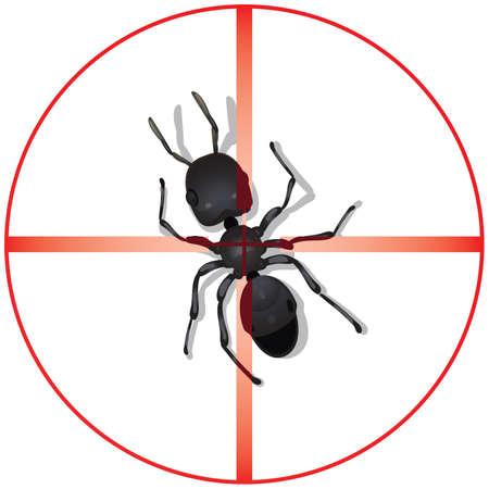 exterminate: Un c�rculo rojo con el vertical y horizontal para ilustrar un bar de alta potencia �ptica de alcance centrada centrado directa o dirigidas vista de una gran hormiga insectos. Vectores