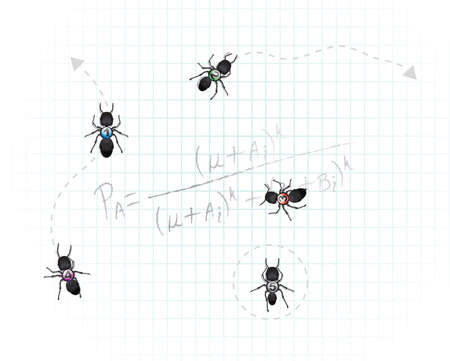 probability: A group of five dark worker ants with numbers pasted on their back. Equation has to do with probability concerning ant foraging. Good general concept for mathematics and organization.