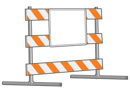 blocco stradale: Un blocco stradale con un segno su di esso con il bianco per la propria zona di testo o un disegno.