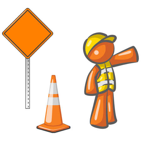 manual worker: An orange man construction worker motioning traffic with construction elements.