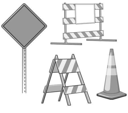 blocco stradale: Una serie di elementi di progettazione in fase di costruzione, che � di colore grigio ed � pronto per essere colorato speciali per i propri bisogni di progettazione.