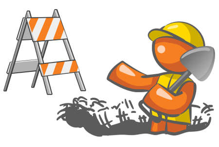 manual workers:  An orange man digging a hole with a roadblock element in the background.