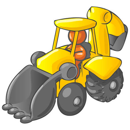 An orange man driving a backhoe dump truck.