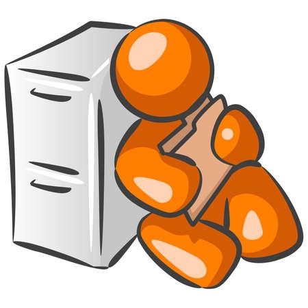 repair man: Un hombre de naranja trabajador de la construcci�n de carreteras con un elemento.