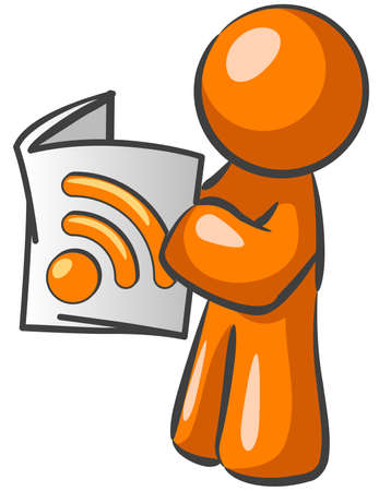 An orange man reading a newspaper with an RSS symbol. Good news feed concept. Stock Vector - 3881010