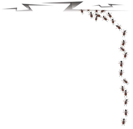 ceiling design: Trabajador hormigas que salen de una grieta en el techo con espacio para su dise�o. Sus antecedentes. Vectores