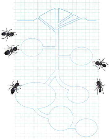 memorable: A group of worker ants pondering the schematics for a future ant hill. Excellent concept for planning which comes accross in a memorable way.