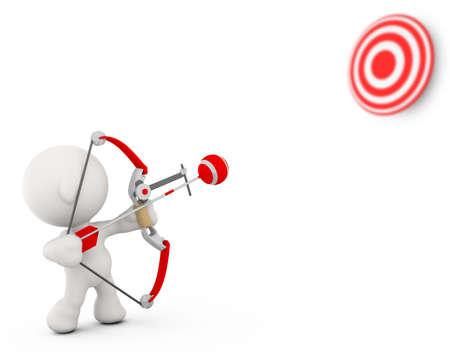 target practice: A 3d Meta Man starting to aim at a target.