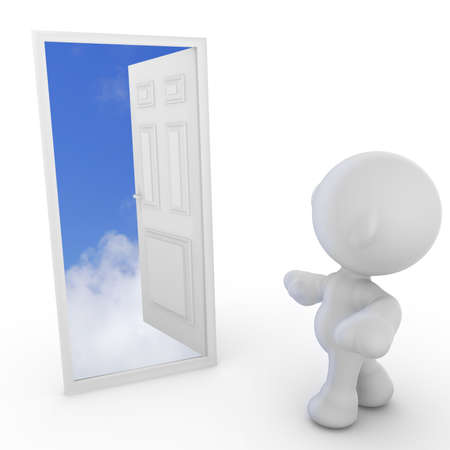 meta: A meta man walking to an open door leading to the clouds. Concept in Success.