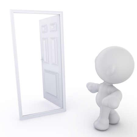 meta: A meta man walking toward an open door. Concept in opportunity.