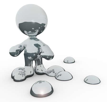 meta: A meta man made of mercury with drops around him.