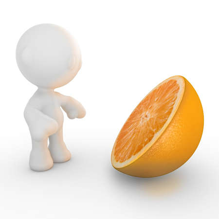 meta: A meta man looking at a huge orange that is cut in half, orange light slightly coming from it shining on him.  Stock Photo
