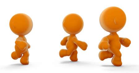 meta: A group of orange meta men running in competition.  Stock Photo