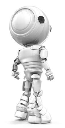 vigilant: A robot looking over his shoulder, vigilant.