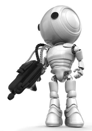 which: A robot soldier holding a large and heavy gun which is connected to his back via metal hoses for supplying energy to the gun. State of the art! Stock Photo