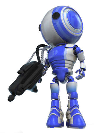 gaurd: A robot soldier holding a large and heavy gun which is connected to his back via metal hoses for supplying energy to the gun. State of the art! Stock Photo