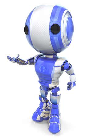 talking robot: Un robot con la mano extendida de una manera amistosa, tal vez de hablar o invitar o incluso la presentaci�n de su producto!