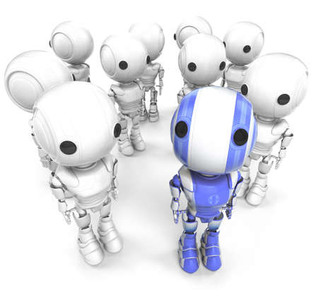 way out: A robot standing out from the crowd, in a not so cliche and familiar way.  Stock Photo