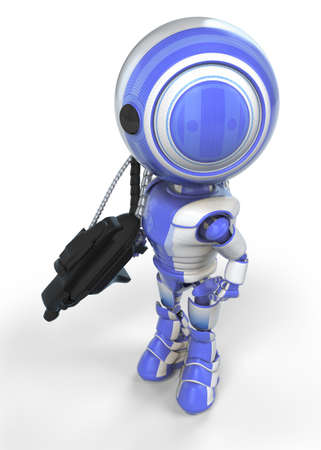 gaurd: A robot soldier created for the sake of &quot,anti-spyware&quot, concepts.  Stock Photo