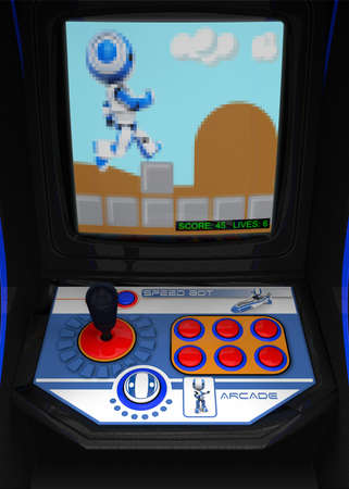 A retro arcade gaming console. Theme involving a running robot. Pixelization of TV screen somewhat exadurated to maintain retro gaming effect.  photo