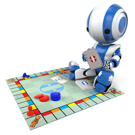 involving: A blue robot playing a generic board game. Good for concepts involving strategy, entertainment, etc.