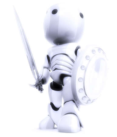 sword and shield: A robot bathed in white light, a symbol of technological purity and excellence. Good concept for antivirus, bot software, and just fun! Stock Photo