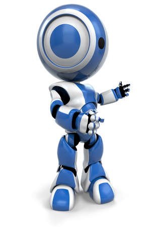talking robot: Un robot azul gestos a la derecha, presentar o hablar. Un �til plantear. Foto de archivo