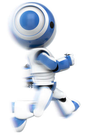 anything: A blue robot running. A dynamic pose that can be used for anything involving urgency, speed, determination, racing, services...anything!