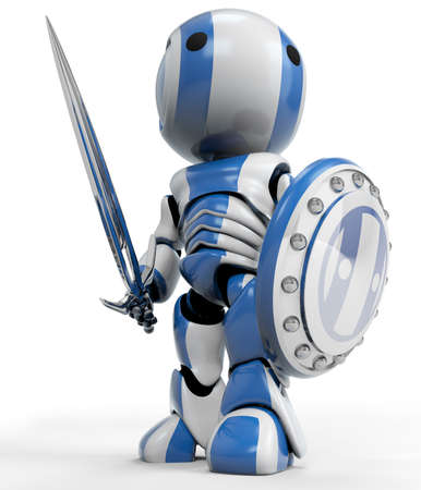 3d shield: A blue robot holding a sword and Shield. a symbol of technological purity and excellence. Good concept for antivirus, bot software, and just fun! Stock Photo